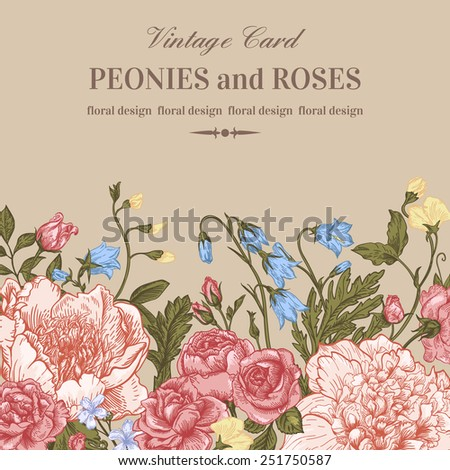 Floral border with summer flowers on a beige background. Peonies, roses, bells. Vintage vector illustration. - stock vector