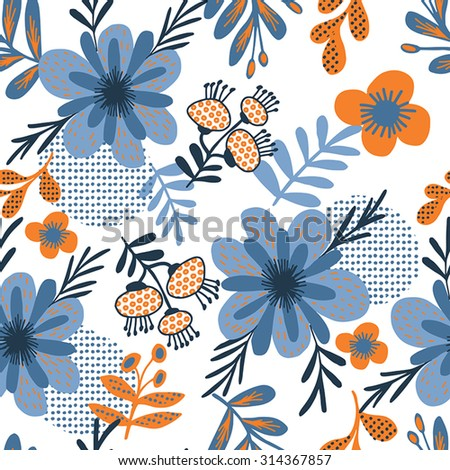 Floral butterfly background, seamless pattern in blue  flowers. - stock vector