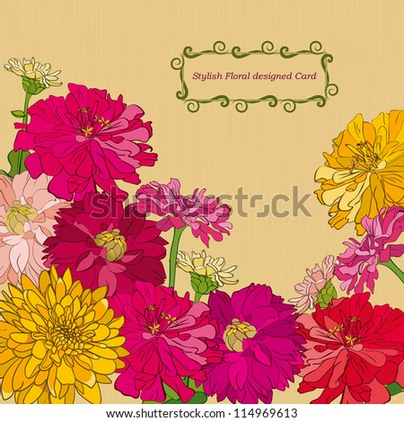 Floral card with different flowers - stock vector