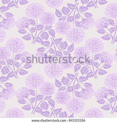 floral chrysanthemum pattern in violet and purple colors - stock vector