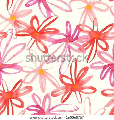 Floral colorful hand drawn paint watercolor stylish vector flower pattern design - stock vector