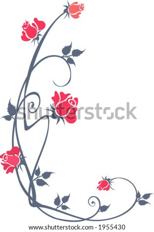 Floral corner - stock vector