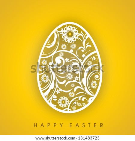 Floral decorated egg on yellow background. - stock vector