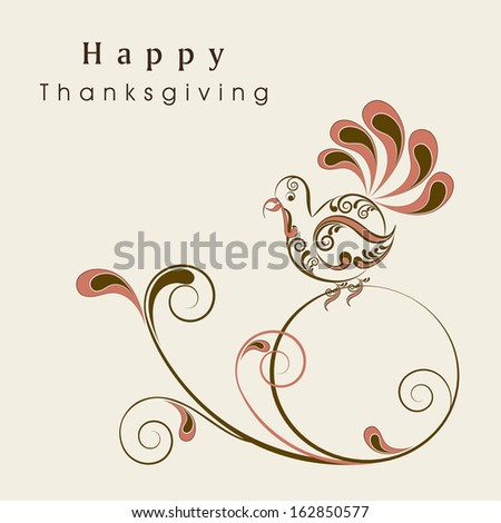 Floral decorated Happy Thanksgiving Day background with turkey bird, can be use as flyer, banner or poster.  - stock vector