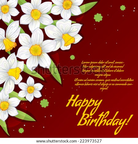 Floral decorative card with white narcissus with place for your text, EPS10 - stock vector