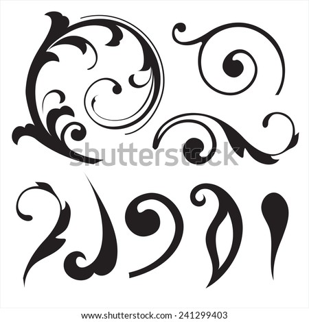 Floral decorative elements - stock vector