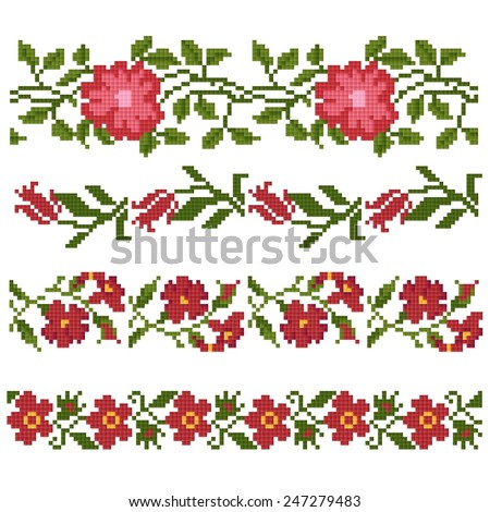 floral decorative elements (embroidery) - stock vector