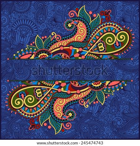 floral decorative invitation card, vintage paisley frame design, flower divider and page decoration on ornamental background in ultramarine color, vector illustration - stock vector