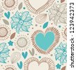 Floral decorative seamless pattern. Doodle background with hearts and flowers. Fabric vintage texture - stock vector