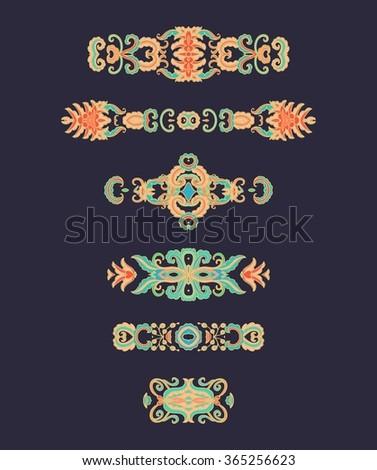 Floral decorative vignettes - stock vector