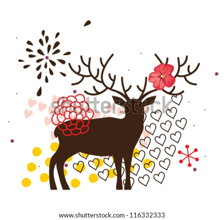 Floral deer with flower - stock vector