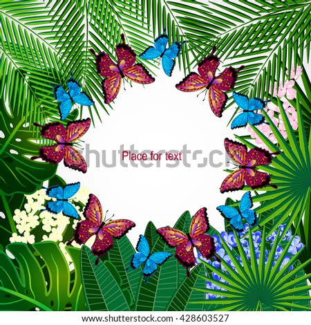 Floral design background. Tropical flowers and butterflies. - stock vector