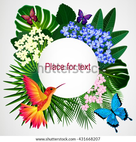 Floral design background. Tropical flowers, birds and butterflies.  - stock vector