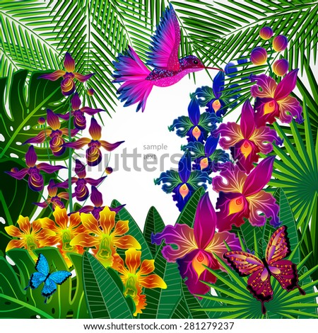 Floral design background. Tropical orchid flowers, birds and butterflies.  - stock vector