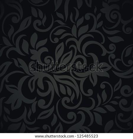 Floral design, black elegant style Seamless Wallpaper - stock vector