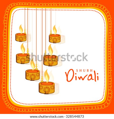 Floral design decorated greeting card with illuminated hanging lit lamps for Indian Festival of Lights, Happy Diwali celebration. - stock vector