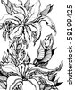 floral design element. sketch style. vector illustration - stock vector