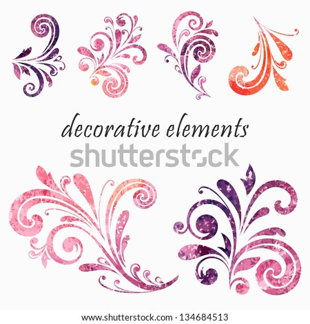 Floral design elements. - stock vector