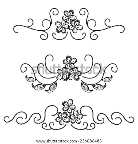 Floral design elements, hand drawn flowers - stock vector