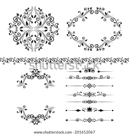 Floral design elements set , ornamental vintage border, frames and dividers in black color. Vector editable illustration. Isolated on white background. Can use for birthday card, wedding invitations. - stock vector