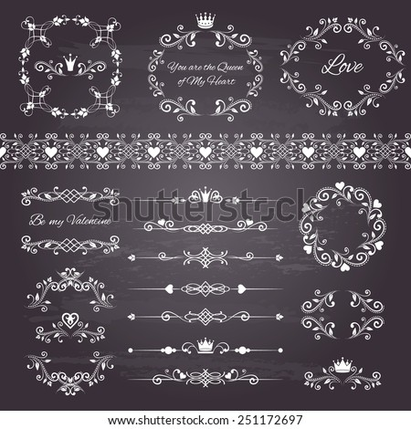 Floral design elements set, ornamental vintage frames with crown in white color. Page decoration. Vector illustration. Isolated on chalkboard background. Can use for birthday card, wedding invitations - stock vector