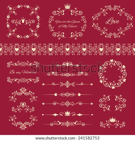 Floral design elements set, ornamental vintage frames with crowns and hearts in white color.Vector illustration. Isolated on red background. Can use for birthday, valentines card, wedding invitations - stock vector