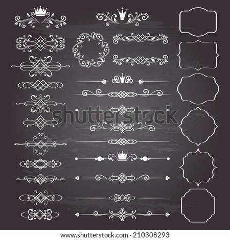 Floral design elements set, ornamental vintage frames with crowns in white. Page decoration. Vector illustration. Isolated on chalkboard background. Can use for birthday card, wedding invitations.  - stock vector
