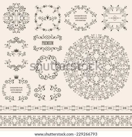 Floral design elements set, vintage frame, borders and round pattern in brown color. Page decoration. Vector illustrations. Isolated on beige background. Can use for birthday card, wedding invitations - stock vector