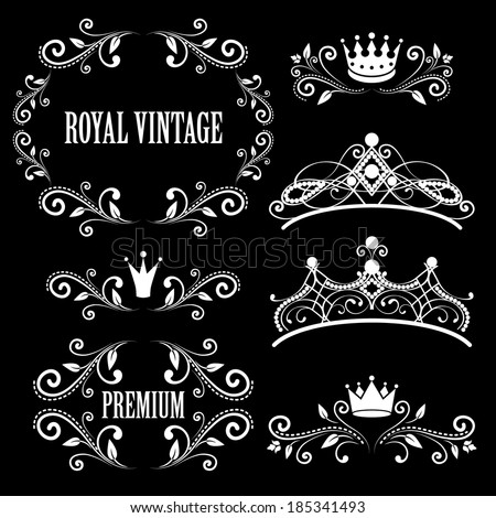 Floral design elements, vintage royalty frames with crowns, ornamental style diadems in white color. Vector illustration. Isolated on black background.  - stock vector