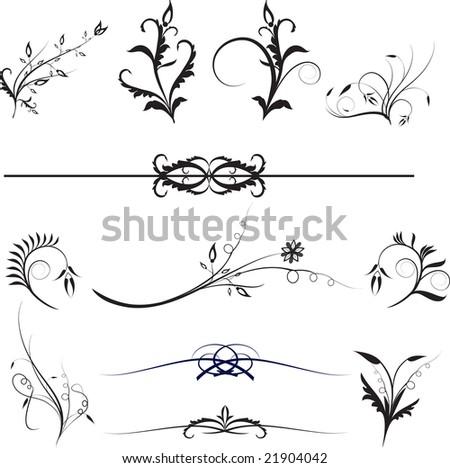 Floral design ellements for design work on white background - stock vector