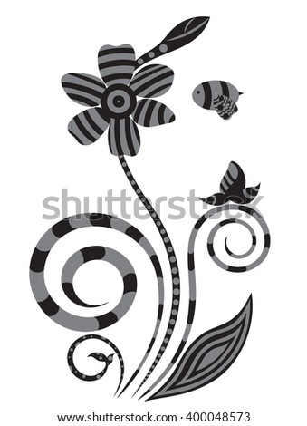 Floral design in white and black color - stock vector