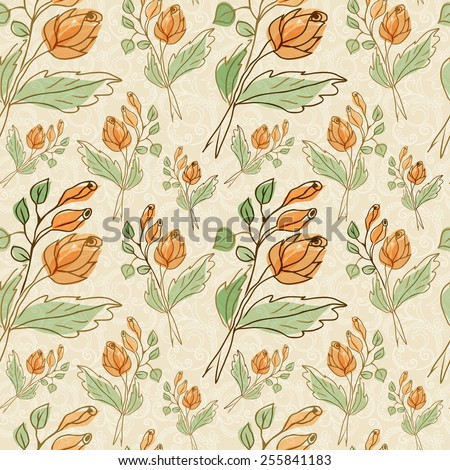 Floral design.Seamless patern. - stock vector