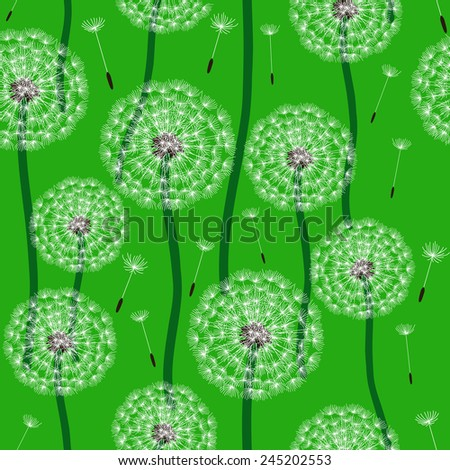 Floral design. Seamless pattern with fluffy dandelion. - stock vector