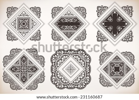Floral design set - stock vector