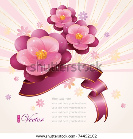 Floral design with violet and ribbon, vector illustration, eps-10 - stock vector