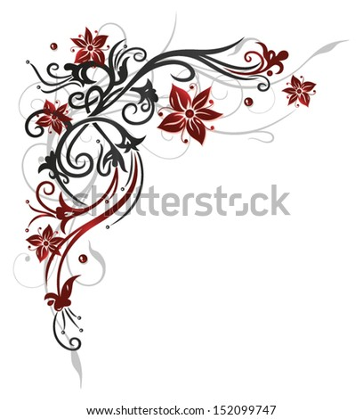 Floral element, black and red - stock vector