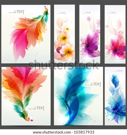floral  elements background. Set of floral cards for design - stock vector