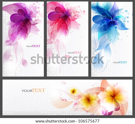 floral elements background. set of templates for business of floral cards for design - stock vector