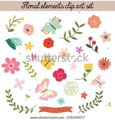 Floral elements clip art set - stock vector
