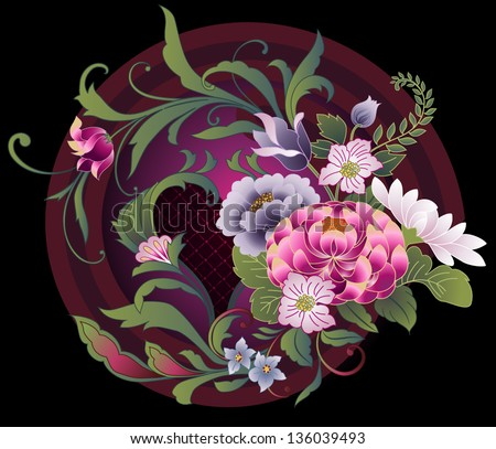 Floral embroidery pattern in Japanese kimono style - stock vector