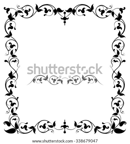 Floral filigree frame - stock vector