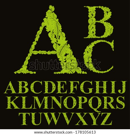 Floral font made with leaves, natural alphabet letters set, vector design. - stock vector