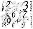 Floral font. Numbers from 0 to 9 - stock vector