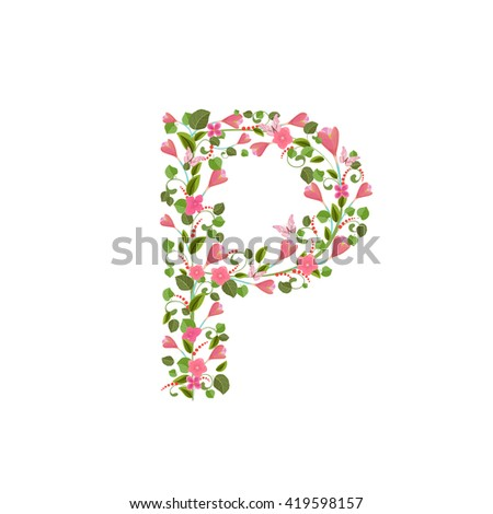Floral font with spring pink flowers. Romantic alphabet letter P - stock vector