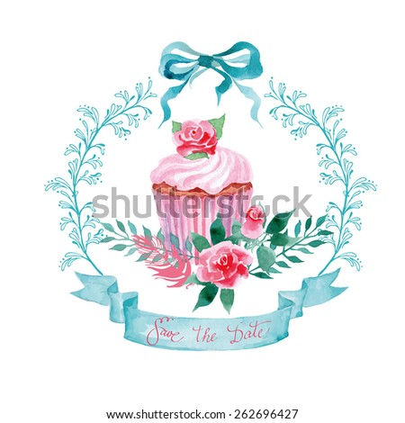 Floral Frame.  A wreath of watercolor  wildflowers and with cupcake.  Perfect for wedding invitations and birthday cards. Template Vector. - stock vector
