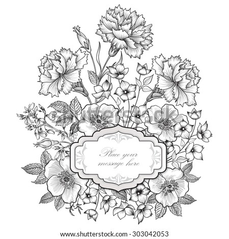 Floral frame background. Flower bouquet border. Floral vintage cover. Flourish card with copy space. - stock vector