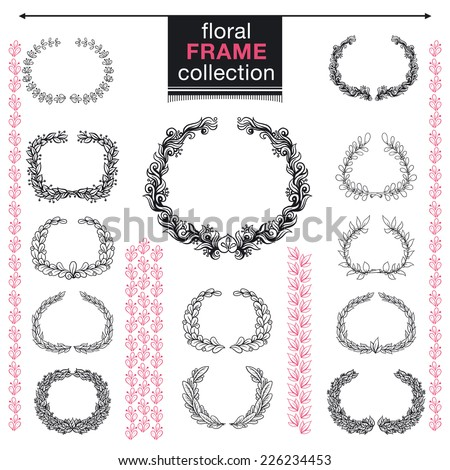 Floral Frame Collection. Set of cute flowers. Perfect for wedding invitations and birthday cards. - stock vector