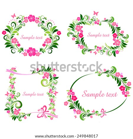 Floral Frame Collection. Set of design elements isolated on White background. Vector illustration - stock vector