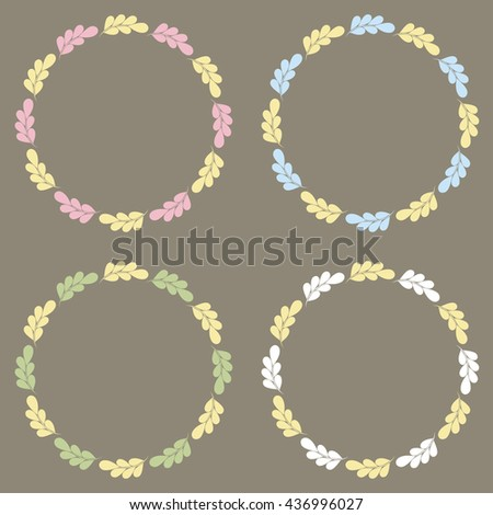 Floral Frame Collection. Set of retro styled frames. - stock vector