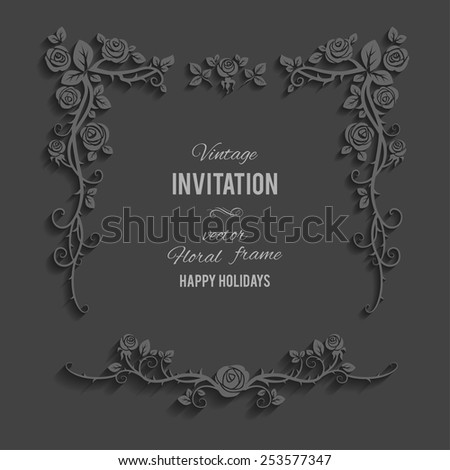 Floral frame from roses on dark background. Place for text. - stock vector